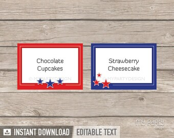 4th of July Party - Food Labels - Place cards - Red Blue Stars - INSTANT DOWNLOAD - Printable PDF with Editable Text