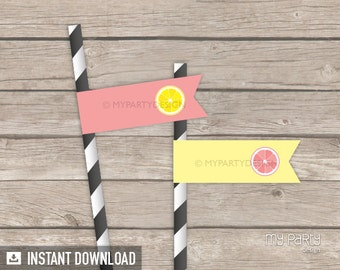 Lemonade Party - Straw Flags - Yellow Peach Pink - INSTANT DOWNLOAD - Printable PDF
