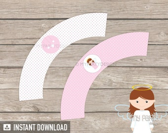 Baptism Cupcake Wrappers - Pink Angel Baptism Party - Christening - First Communion - INSTANT DOWNLOAD - Printable PDF