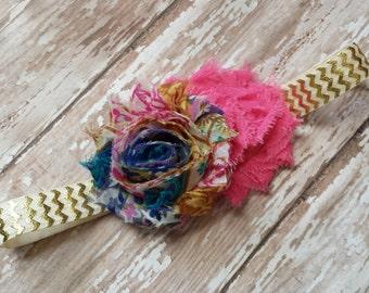 Vintage Blue Floral & Hot Pink Shabby Flower Headband