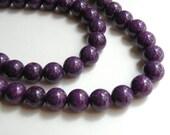 Riverstone beads in grape purple round gemstone 10mm full strand 4301GS