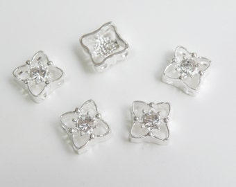 5 Clear Crystal Rhinestone Square Flower double strand slider beads 11mm DB26526
