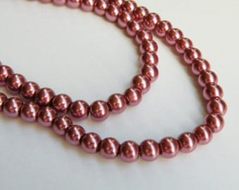 Dark Dusty Rose Mauve glass pearl beads round 6mm full strand 1720GL