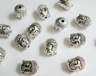 10 Buddha Head 3D focal beads antique silver 11x9x8mm PZN60542
