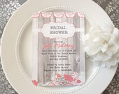 40 Printed Wedding Shower Invitation  - Barnwood with Coral and Tiffany