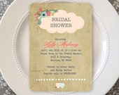 40 PRINTED Wedding Shower Invitations  - Vintage Flowers 17