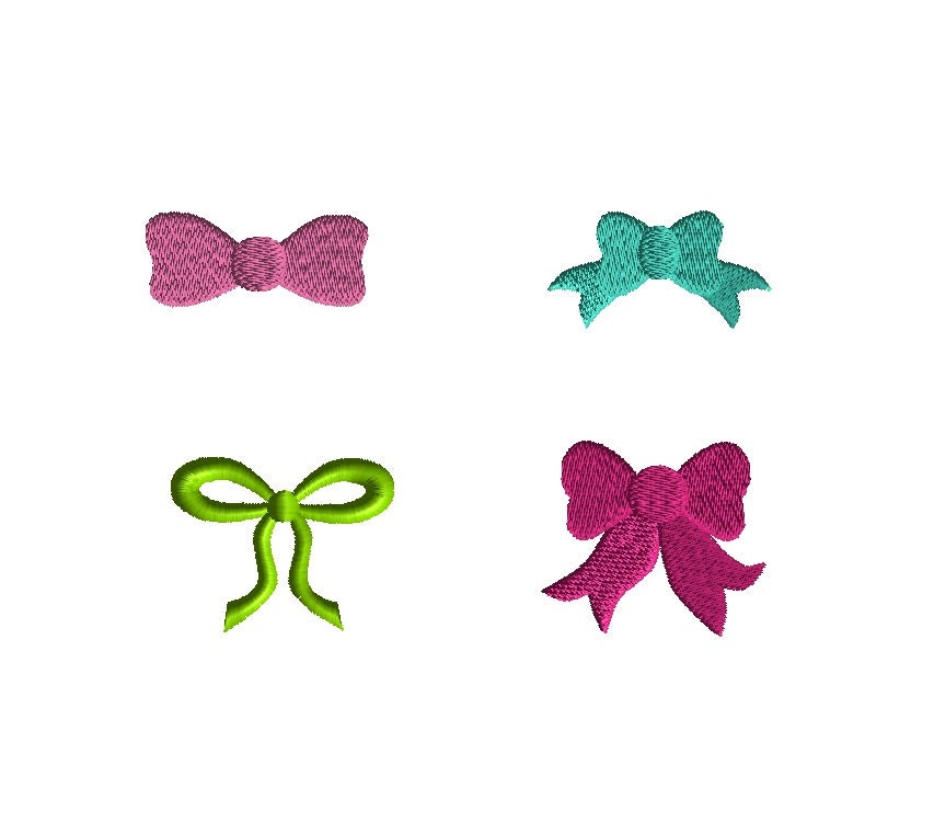 Mini bows machine embroidery designs instant download