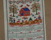 Bless This House Design 1972 Cross Stitch Style Vintage Linen Kitchen Calendar Towel
