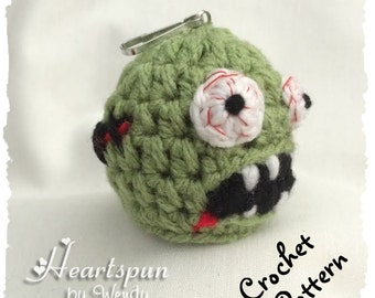 CROCHET PATTERN to make a Zombie EOS Lip Balm Holder, Pdf Format, Instant Download.  Fits eos and similar size lip balm.