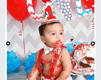Boy cake smash outfit, first birthday outfit,  gray and red party hat, bow tie, diaper cover and suspenders