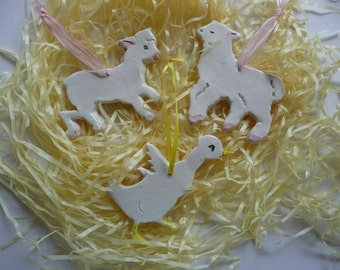 Easter Handmade Lambs and Duck Ceramic Ornaments