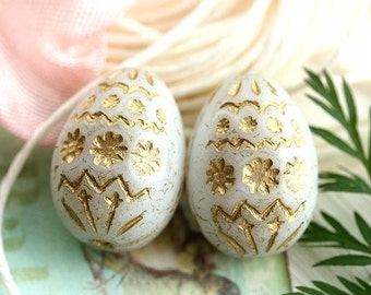 Easter eggs, czech glass beads, White glass beads, Bird eggs, Easter decoration, White and Gold, oval beads, ornament, 20mm - 2Pc - 0035
