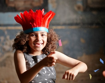 kids feather headband ++ red & turquoise ++ party
