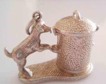 Large Silver Dog and Dustbin Opening Charm