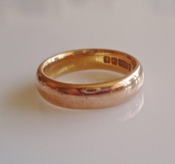 Heavy 9ct Rose Gold Plain Wedding Band Ring Size UK L