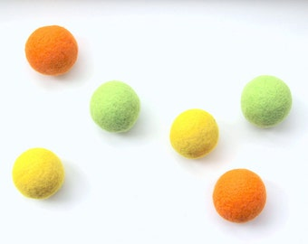 Wool dryer balls set of 6, citrus. Yellow orange lime. Handmade w/100% wool. Replaces fabric softener & dryer sheets. Natural laundry goods.
