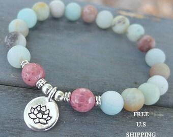 Amazonite, Rhodonite, choose your charm, Lotus, Buddha, Om, meditation, Yoga bracelet, Energy bracelet, wrist mala, Ohm mala, Reiki Charged