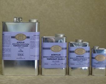 L.A. GOLD LEAF - Acrylic Topcoat Gloss - 1Gallon - 1Quart - 1Pint - 1/2Pint