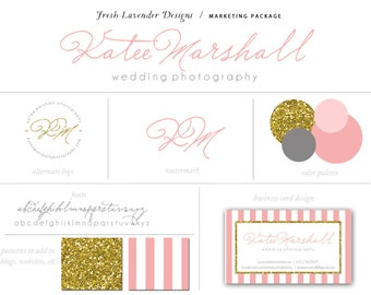 Custom Branding Package Premade Logo with Watermark Shabby Chic Glitter and Stripes Hand Written Logo Pink & Gold Marketing Kit