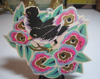 1920's-30's unused art deco die cut gold gilded Rust Craft bridge tally 2 black and lavender colored birds on a deco flowering tree branch