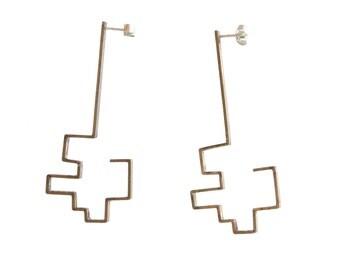 Earrings - Brass geometrical studs - handmade metalwork