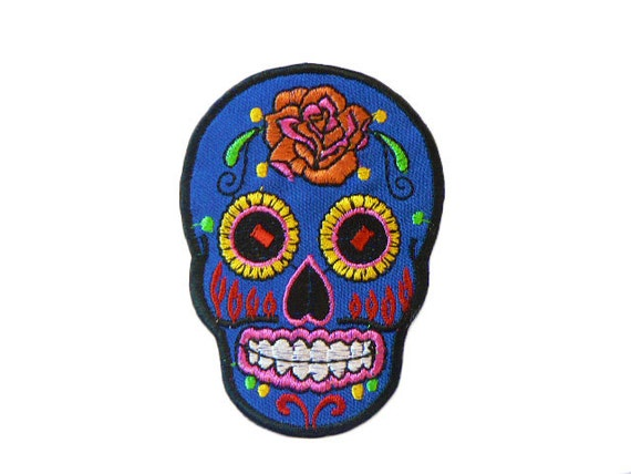 Blue Sugar Skull Day of the Dead Iron On Patch by ...