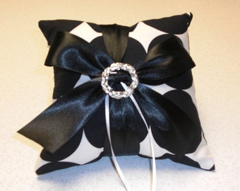 Black and White Polka Dot Ring Bearer Pillow