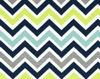 Navy, Gray, Aqua, and Citron Canal Chevron Contour Changing Pad Cover