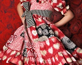 Valentines Day Dress - Patchwork Peasant Dress - Lost and Found Love - READY TO SHIP - Size 5