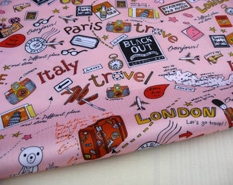 "3029B - 1 yard Vinyl Waterproof Fabric - Travel (pink)  - 57""x36"""