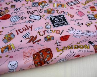 "3029B - 1 yard Vinyl Waterproof Fabric - Travel (pink)  - 57""x36"""