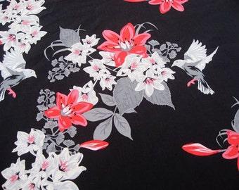 2124 - 1 yard Cotton fabric  - Bird and flower on black