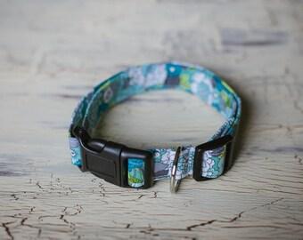 1 Inch Adjustable Dog Collar - Medium/Large - Floral