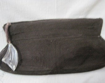 Vintage 40's Large Dark Brown Corde Clutch Bag with Lucite Zipper Pull