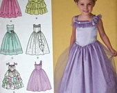"Simplicity Dress Pattern No 2463 UNCUT Sizes AA 3 4 5 6 Girls Chest 22"" to 25"" Special Occasion Party Pageant Full Skirt Bodice Variation"