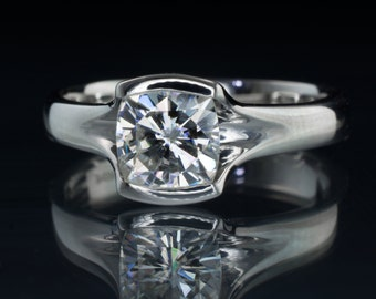 Cushion Cut Forever Brilliant or One Moissanite Platinum Engagement Ring, Fold Solitaire Unique Half Bezel Ring, ready to ship size 5 - 8