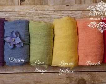 """Rainbow Baby Set~ 6 wraps x 5 feet x15""""wide+ crown or head tie Any Colors 100% Cotton Gauze Swaddle Newborn Cheesecloth Wraps 1st Photo Prop"""