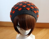 Hearts Beanie in Dark Grey & Orange, Multi Use Crochet Hat, Cowl, Neckwarmer, Winter Accessories, Hand Crocheted Hat, Valentine's Day Gift