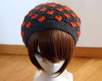 Hearts Beanie in Dark Grey & Orange, Multi Use Crochet Hat, Cowl, Neckwarmer, Winter Accessories, Hand Crocheted Hat, Valentine's Day Gift