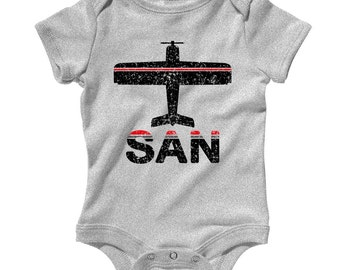 Baby Fly SAN Airport Romper - San Diego Airport Infant One Piece - NB 6m 12m 18m 24m - San Diego Baby - 2 Colors