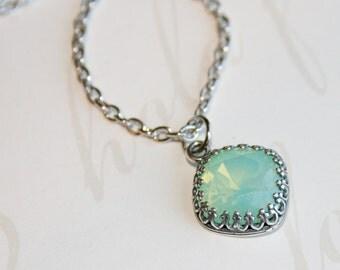 Chrysolite Opal Necklace, Swarovski Crystal Necklace, Mint Green necklace, Mint Green Opal Swarovski Crystal Necklace