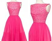 vintage 50s dress // Pretty Pink Chiffon Sequin Dress Full Skirt Saks 5th Ave Small