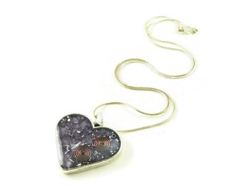 Orgone Energy Pendant - Purple Heart with Amethyst Gemstone - Artisan Jewelry