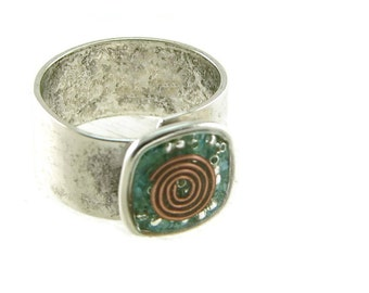 Orgone Energy Ring with Turquoise - Small Cocktail Ring - Adjustable Ring - Orgone Energy Jewelry - Artisan Jewelry
