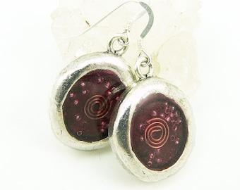 Orgone Energy Earrings - Wax Seal Look Earrings - Dangle Earrings - Red Garnet Gemstone - Artisan Jewelry
