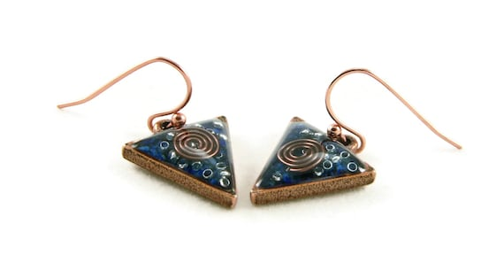 Orgone Energy Dangle Earrings - Small Triangle Drops in Antique Copper with Lapis Lazuli - Orgone Energy Jewelry - Artisan Jewelry