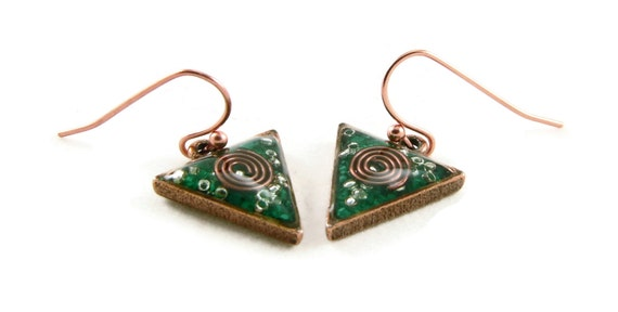 Orgone Energy Dangle Earrings - Small Triangle Drops in Antique Copper with Malachite - Orgone Energy Jewelry - Artisan Jewelry