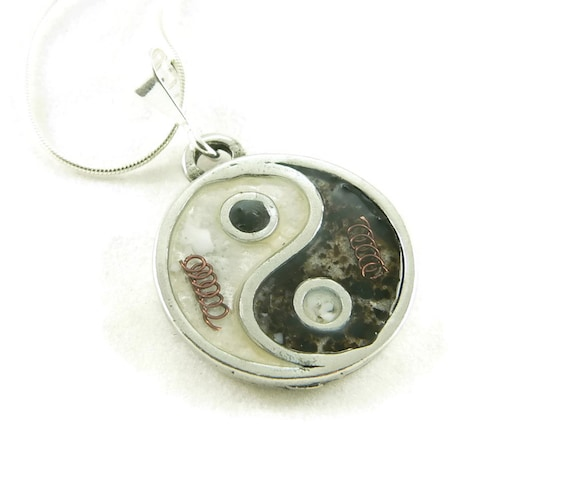 Orgone Energy Small Yin-Yang Pendant Necklace in Black and White with Sterling Silver Chain - Artisan Jewelry
