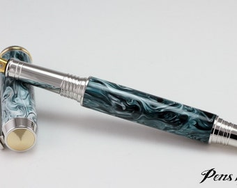 Custom fountain pen with stunning resin and rhodium accents