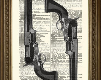 "REVOLVER GUNS: Dictionary Art Prints of Classic Colt Pistols, Wall Art for Gun Enthusiast (8 x 10"")"